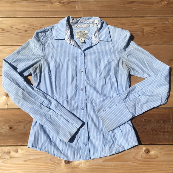 fe221043 Abercrombie & Fitch Tops | Abercrombie Fitch Blue Striped Button Up ...